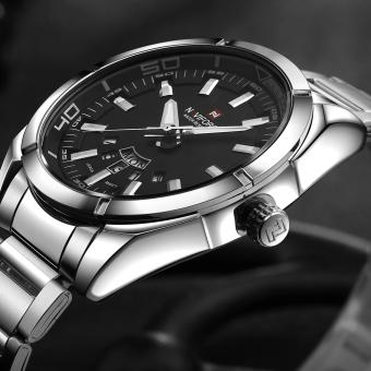 NAVIFORCE 3ATM tahan air Analog jam pria berkualitas tinggi Stainless Steel gelang jam kuarsa pusat jam tangan dengan fungsi tanggal minggu - International
