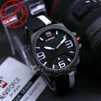 NAVIFORCE NF-124B-MW Jam tangan pria tali karet. ( Tanggal Aktif )