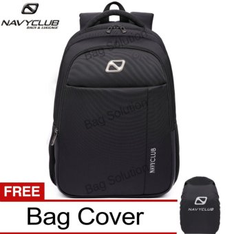 Navy Club Tas Ransel Laptop Backpack Up to 15.6 inch Anti Air 62060 - Hitam Bonus Jas Hujan