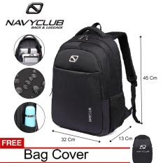 Navy Club Tas Ransel Laptop - Tas Pria Tas Wanita - Backpack Up to 15.6 inch Anti Air 62060 - Hitam Bonus Jas Hujan