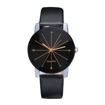 New Fashion Women Men's Top Lover Dial Clock Leather Quristwatch Big - Intl