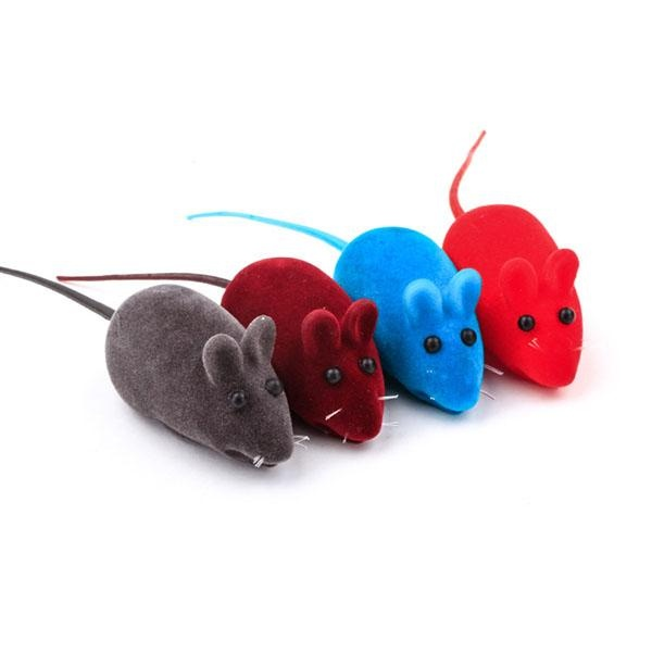 New Little Mouse Furry Toy Squeak Sound Rat Fun Gift Pet Lovely Color Random