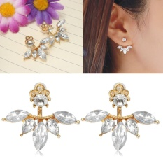 New Pair lady/Women Fashionable Golden Jewelry Gemstone Rhinestone Earrings Stud - intl