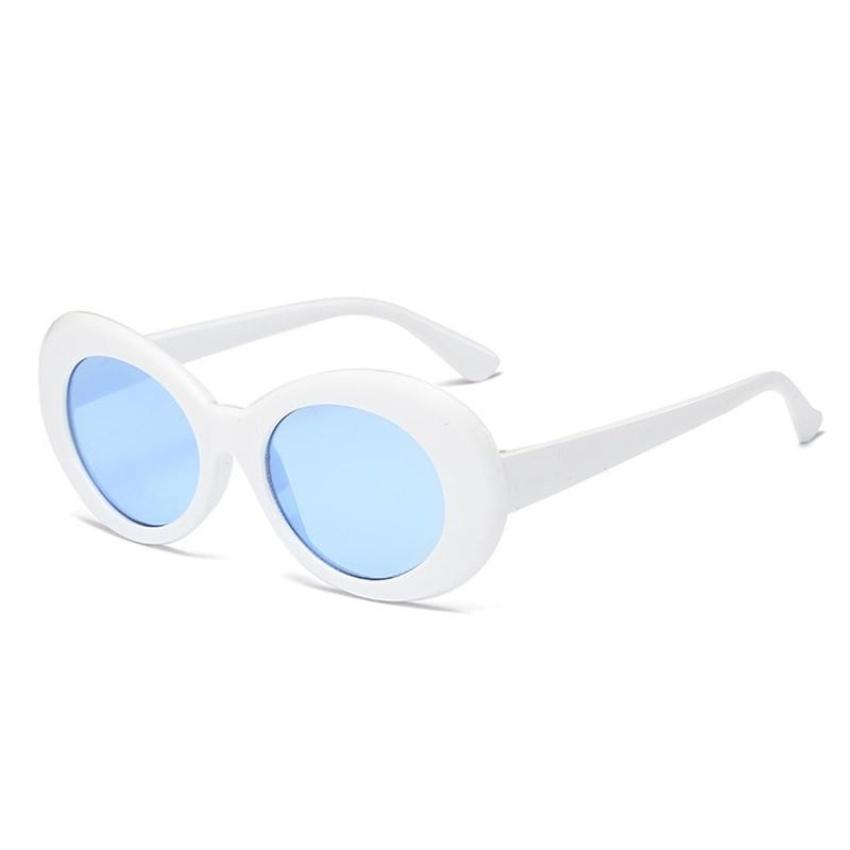 ... New Retro Small Box Sunglasses Men and Women Trend Sunglasses-White Box Ocean Blue ...