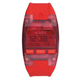Nixon Watch Comp Red Resin Case Rubber Strap Mens NWT + Warranty A336191