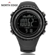 North Edge Jam Digital Olahraga untuk Pria dengan alat pengukur tinggi Barometer kompas termometer prakiraan cuaca alat pengukur langkah pendakian lari renang dan bersepeda