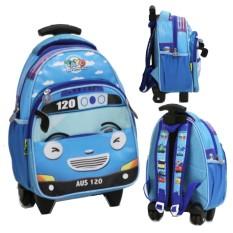 Onlan Tas Trolley Anak Sekolah TK Atau Play Group Motif Bus Tayo Bahan Kain Sponge Tahan Air ( 3KT )