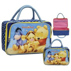 Onlan Travel Bag Motif Karakter Anak Dua Kantung Kain Sponge Anti Air - Blue