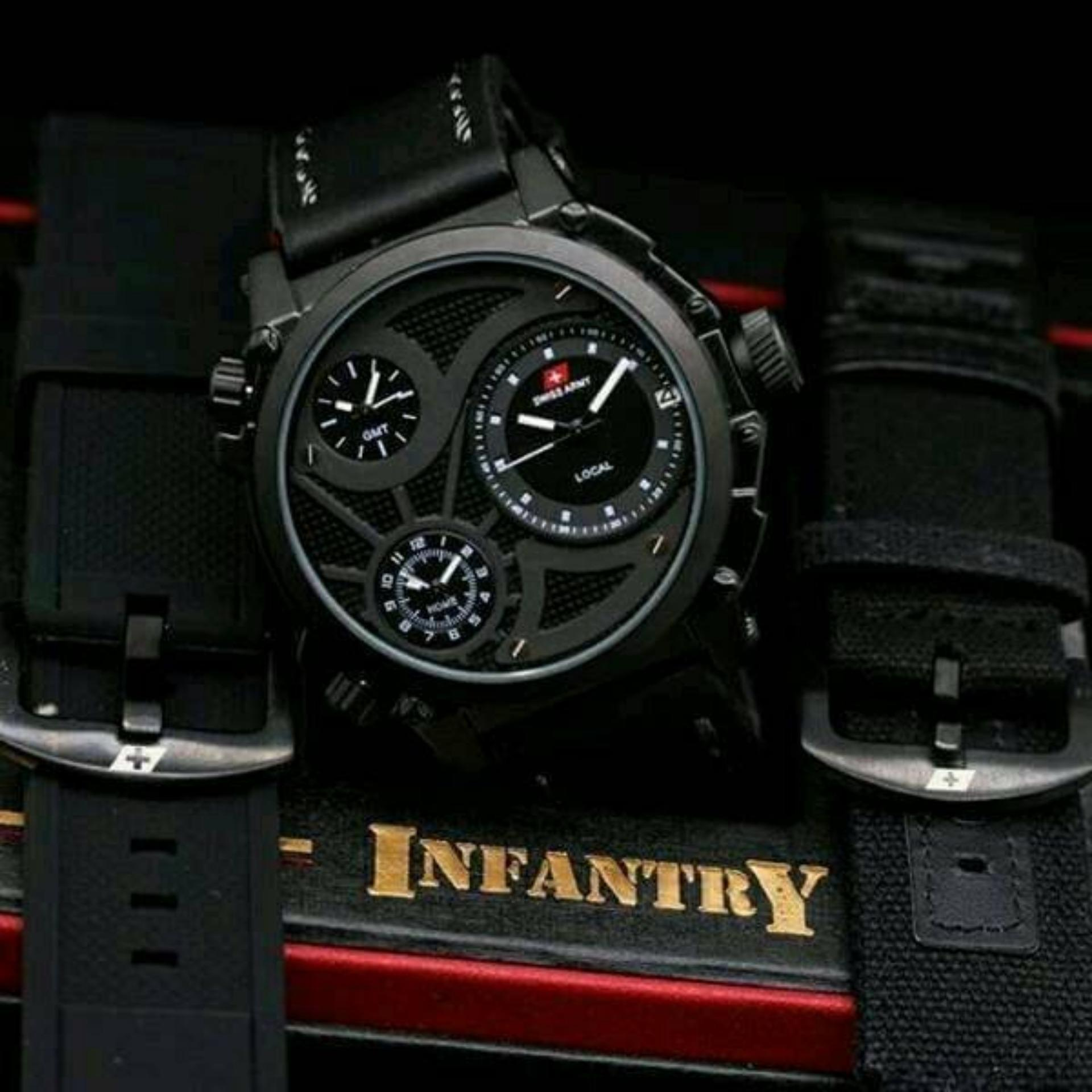 Flash Sale Original Swiss Army Infantry Limited Edition - Jam tangan Pria  Premium Leather Strap 41926104e3