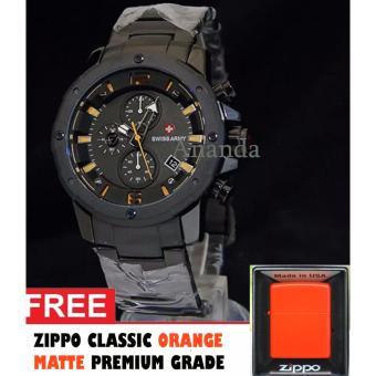 harga Original Swiss Army Jam Tangan Pria SA6410 Lis Orange Chrono Aktif Full Stainless Body Strap Rantai Bonus Korek Api Zippo Orange Matte Lazada.co.id