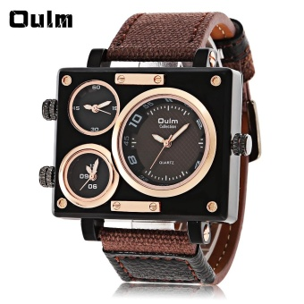 Oulm 3595 Three Movt Quartz Watch Rectangle Dial Canvas + Leather Band Wristwatch - intl