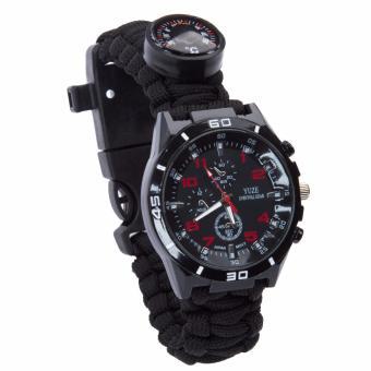harga Paracord gelang Watch outdoor multifungsi Survival Kit keselamatan Gear penyelamatan alat dengan Kompas / api Starter / pengikis / Whistle / Paracord tali / Thermometer Lazada.co.id