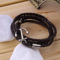 Pee Men Anchor Braided Leather Bracelet Multilayer / Gelang Kulit Pria