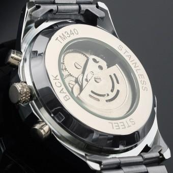 Pemenang Stainless Steel Case dan tali kulit laki-laki olahragabisnis Fashion kasual kerangka jam tangan mekanik otomatis - hitamwajah dengan kotak perak - International - 4