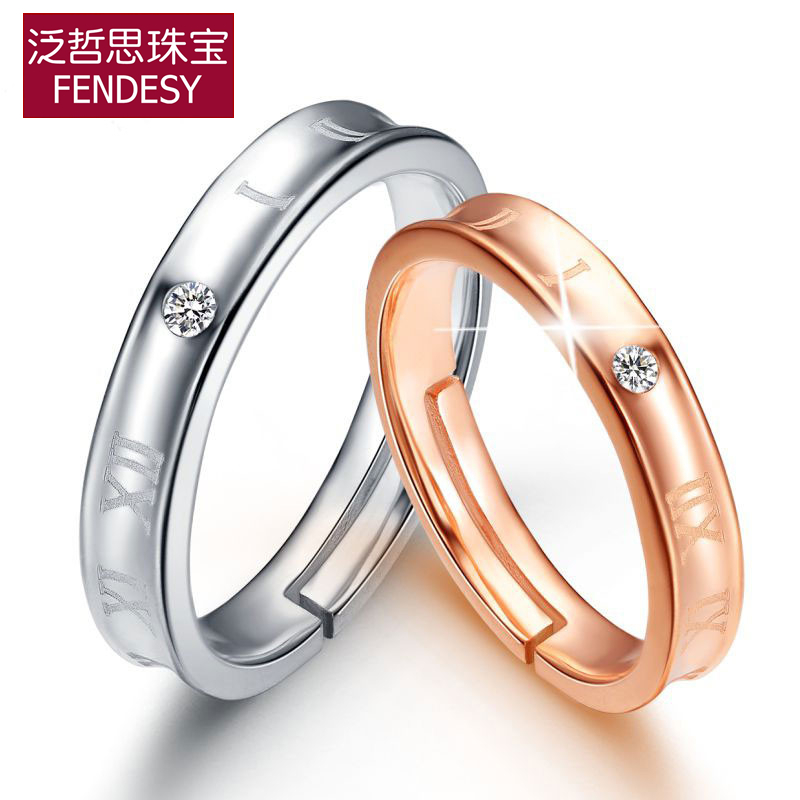 Flash Sale Perempuan perak berlapis platinum naik emas cincin cincin pasangan