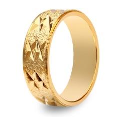 Perhiasan Bergaya 18 K Elektroplate Warna Emas Sederhana Desain Geometris Pola Cincin untuk Pria-Intl