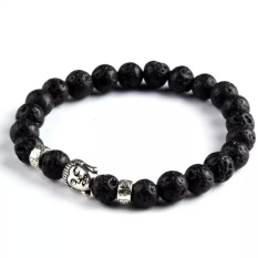 Alam Chisese yang hitam seperti batu Obsidian ukiran budha beruntung Amulet liontin Nacklace .