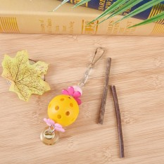 Pet Bird Bites Toy Parrot Chew Bell Toy Cage Swing Hanging Cockatiel Parakeet Yellow - intl