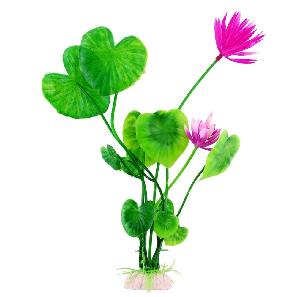 Pet New Durable Water Purple Lotus Artificial Grass Aquarium FishTank Decoration - intl