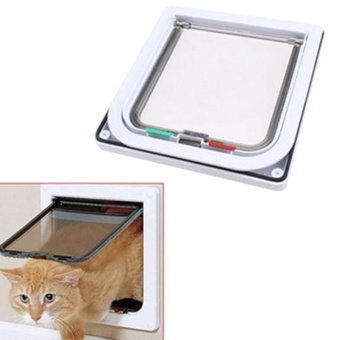 ... Pet Supplies Cat Dog Flap Door With 4 Way Locking Installing Easily Pet  Door Kit For ...