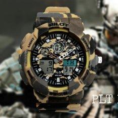 Pilot H-1159 Jam Tangan Olahraga Pria - Dual Time - Fiture Army Fashion -