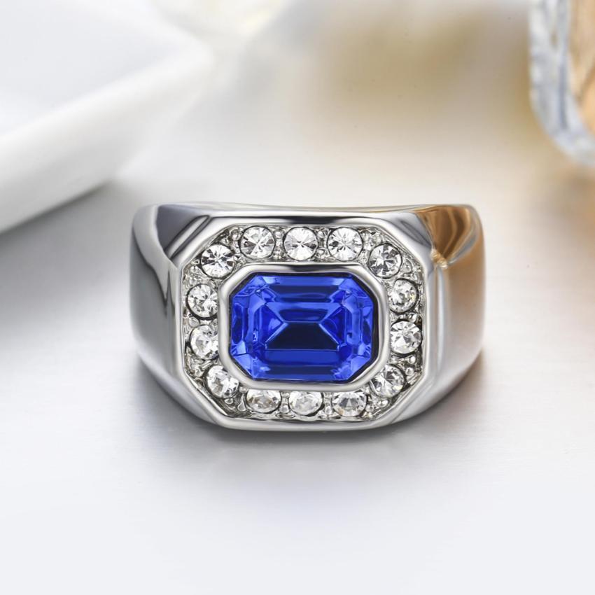 Pinannie Austria Crystal Asli Platinum Berlapis Cincin For Pria And Wanita