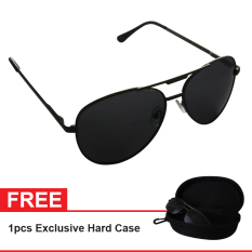 Polarized Sunglasses UV 400 HD Night 001 Free Exclusive Hard Case  - Kacamata Pria & Wanita - Hitam