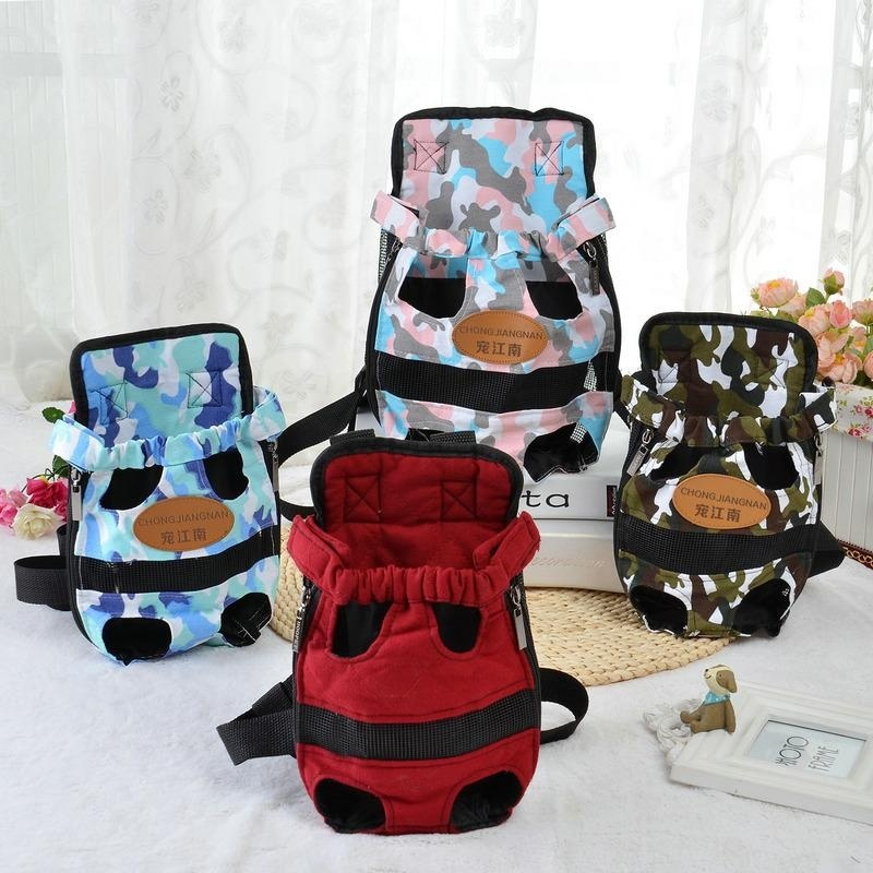 Portable Pet Puppy Double-shoulder Prothorax Bags Dog Travel Carrier Dog Front Backpack Pet Bags Dog Pack Bag Chest Pack Red-L