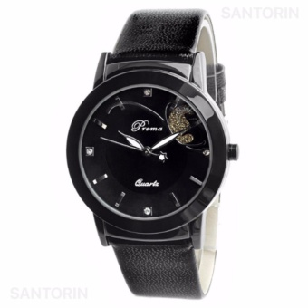 PREMA Jam Tangan Analog Wanita Strap Kulit Sintetis Women Leather Fashion Wrist Watch - Black