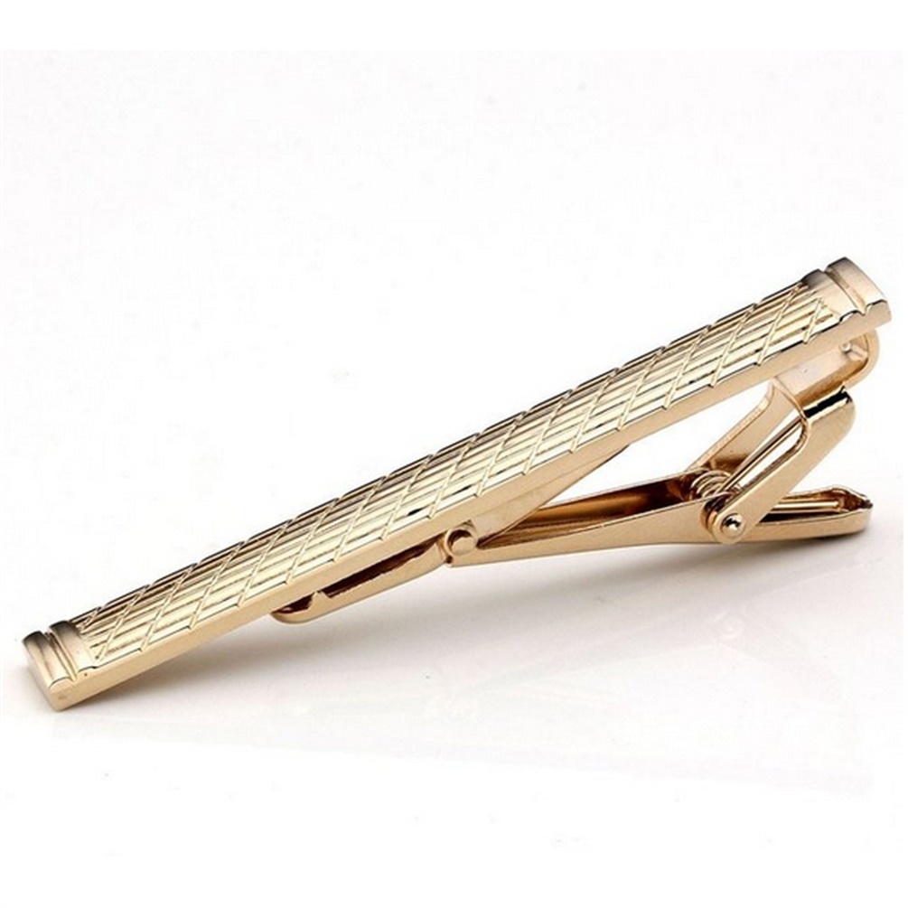 Pria biasa klasik Keemasan standar Stainless Steel Bar penjepit dasi jepitan pin Keemasan .