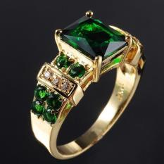 Pria cincin Emerald Zircon Crystal Jewelry Ring U.S. ukuran