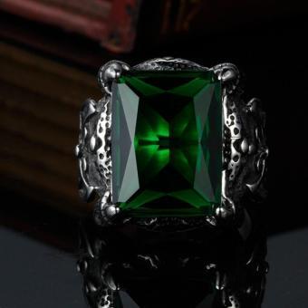 ... Pria dominan Retro cincin batu mulia hijau - 3