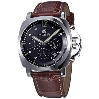 Pria merek teratas Megir perhiasan mewah jam Chronograph militer kulit (Coklat dengan Hitam)