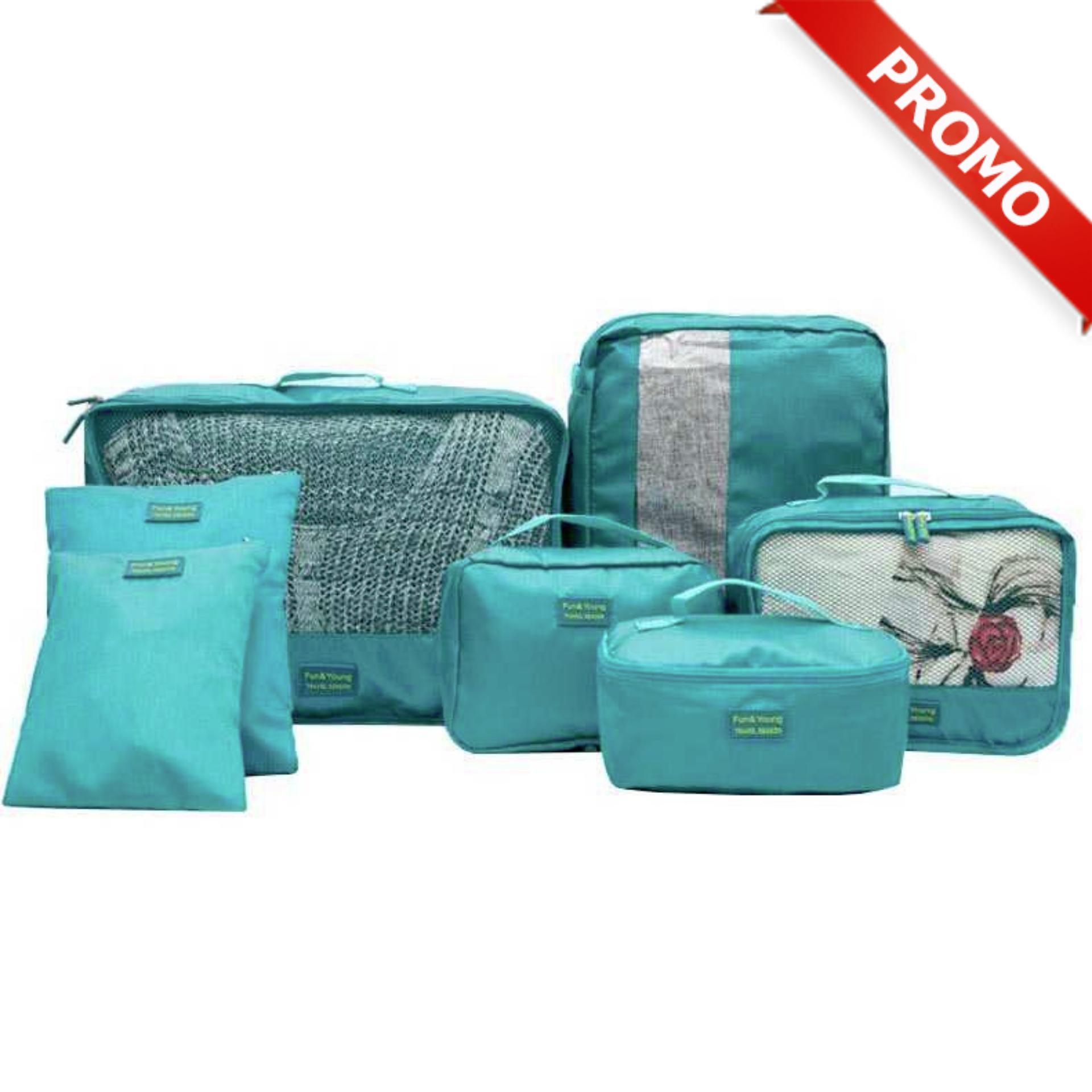 Korean Travel Toiletries Bag (Tas untuk tempat kosmetik) PROMO Tas Travel Bag in Bag Organizer 7 in 1 (7 buah tas)