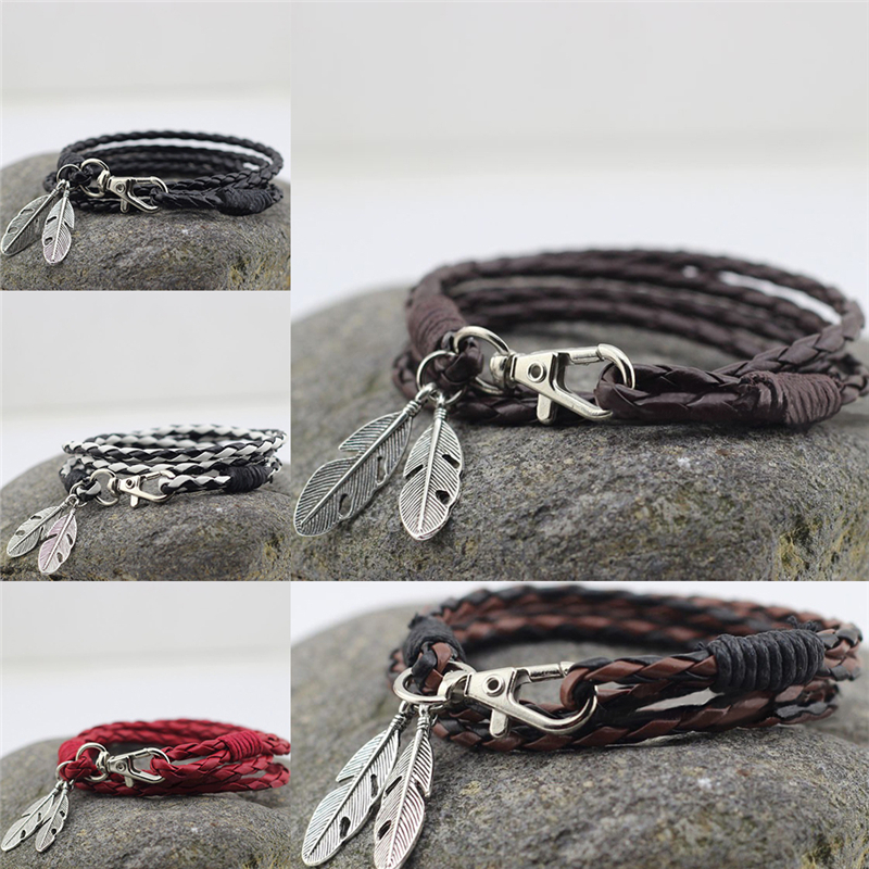 PU Leather Feather Men Charm Bracelets Bangles Fashion Jewelry Accessories Brown - intl .