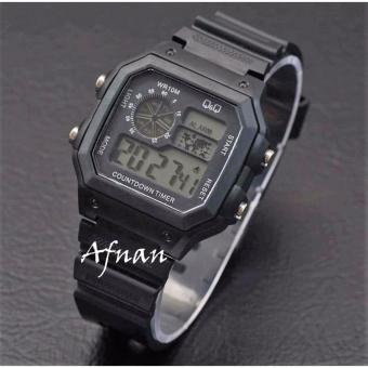 Q&Q Digital - Jam Tangan Pria & Wanita / Remaja / ABG QQ 9876 AF - Water Resist 10 M - Bahan Tali Rubber - Model Simple