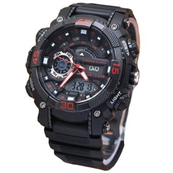 Q&Q Dual Time - Jam Tangan Sport Pria - Rubber Strap - Q&Q GW8700 Red