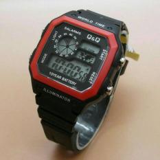 Q&Q - Jam Tangan Digital Pria - Rubber Hitam - Dial Hitam - Bezel Merah  Q&Q 1034