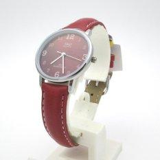 Q&Q QQ QnQ Analog Model DW Jam Tangan Wanita - Merah - Strap Kulit - QZ01J335Y