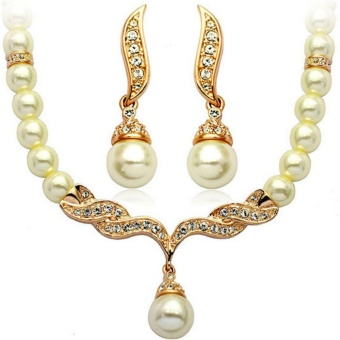 R90087 Simulated-Pearl Party Wings Necklace and Earrings Sets - intl