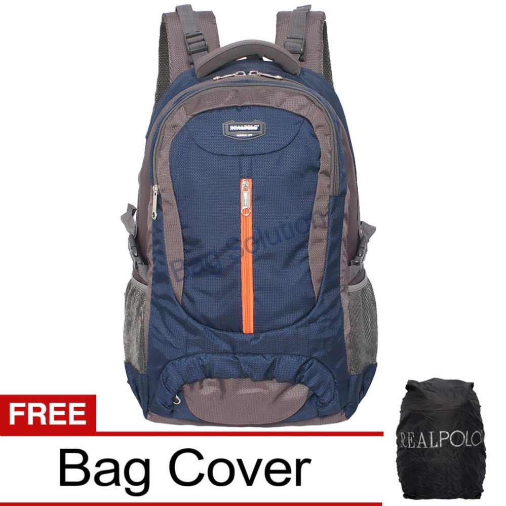 Real Polo Tas Ransel Kasual Jumbo HCBH Backpack XL Bonus Bag Cover Biru Tua