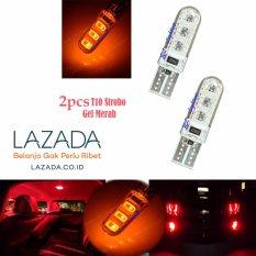 RL Lighting Led T10 Strobo Senja 6Led Gel / Jelly / Silicone SuperBright 2pcs - Merah