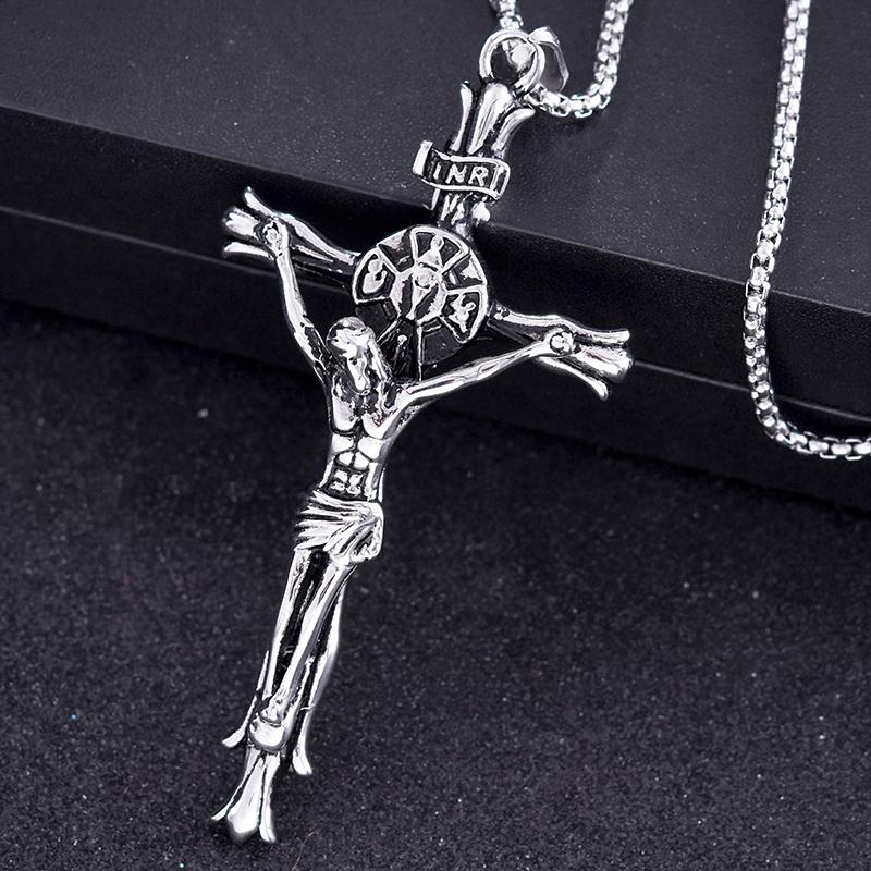 Romantis pesta Yesus titanium baja lintas pria kalung