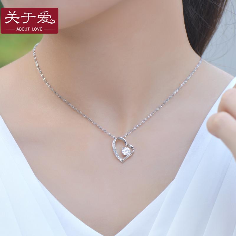 S925 Jepang dan Korea Selatan sterling silver kalung berbentuk hati liontin
