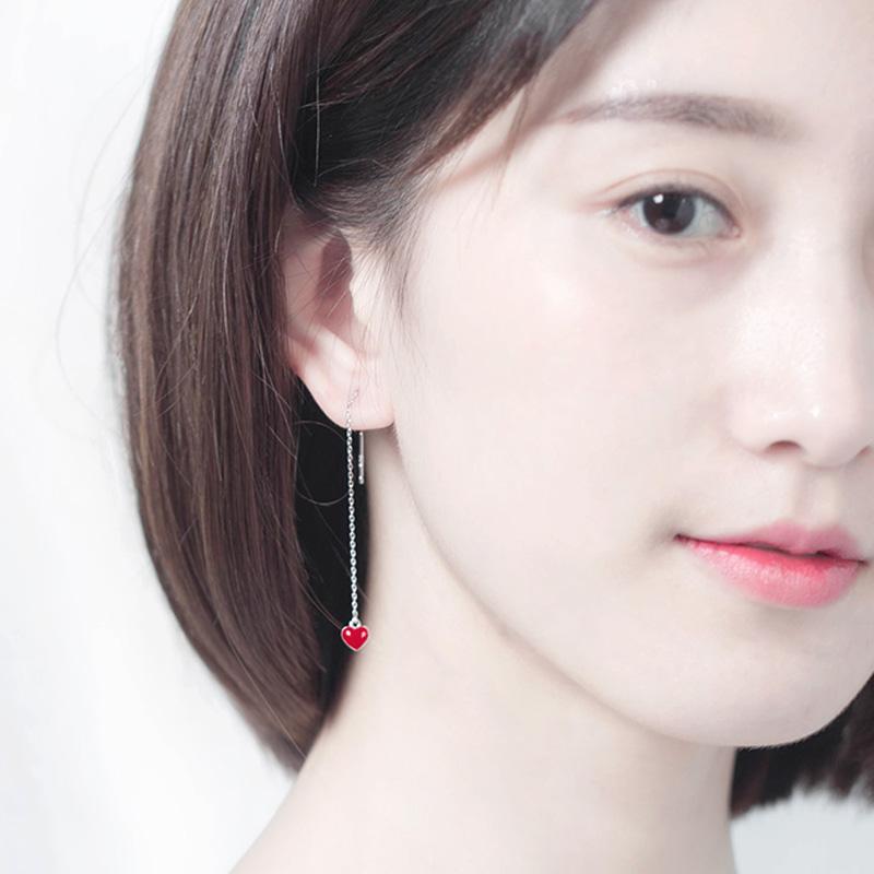 S925 Korea Fashion Style Merah Temperamen Peach Jantung Sterling Silver Anting