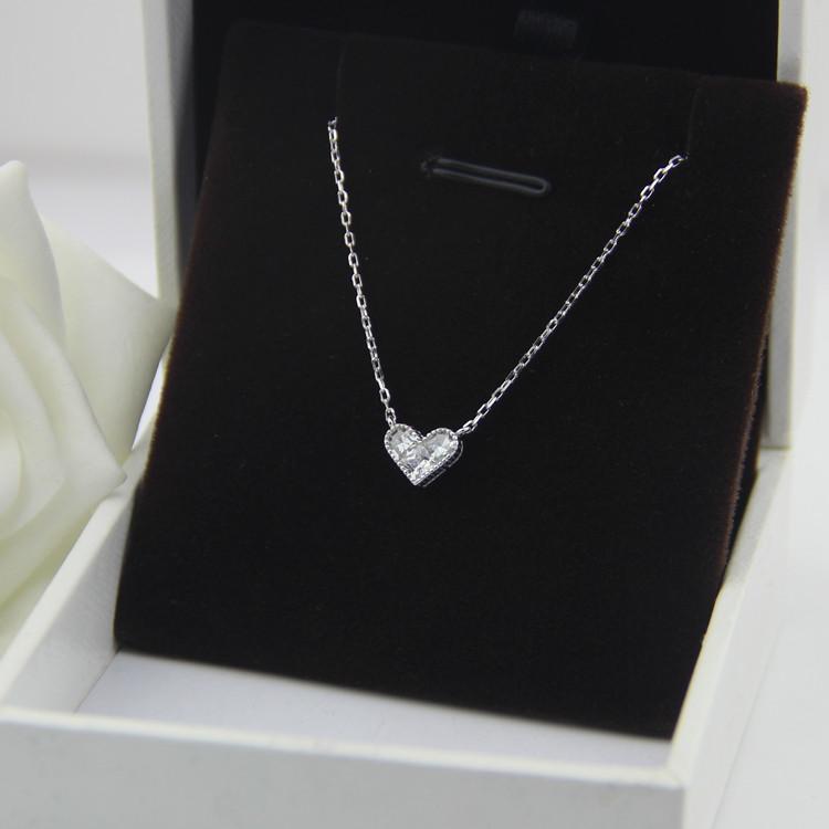 Cheap online S925 Sterling Silver Zirkon Cinta Klavikula Rantai Kalung