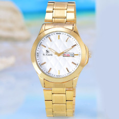 Saint Costie  Jam Tangan Wanita - Body Gold  – White Dial – Stainless Stell  Band -  SC-RT-5381L-GW - Japan