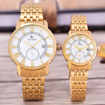 Flash Sale Saint Costie Original Brand, Jam Tangan Pria & Wanita - Body Gold - White Dial - Stainless Stell Band - SC-RT-8011C-GL-DETIK-GW-GOLD-COUPLE ...