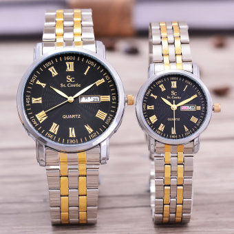 Saint Costie Original Brand, Jam Tangan Pria & Wanita- Body Silver/Gold - Black Dial - Stainless Stell Band - SC-RT-8011GL-TH-SGB-KOMB-COUPLE