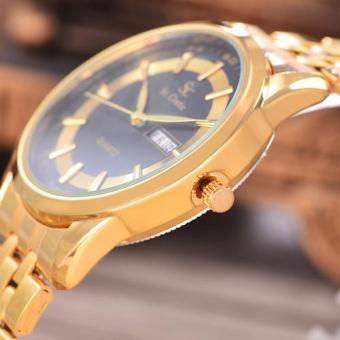 Saint Costie Original Brand Jam Tangan Pria Body Gold Black Dial Stainless .